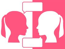 Heads of two people, brainstorming concept for question,. Heads of two people,brainstorming concept for question, process human thinking stock illustration