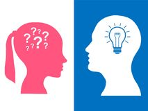 Heads of two people, woman and man, brainstorming concept gear question. Heads of two people,brainstorming concept gear question, process human thinking royalty free illustration