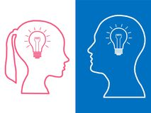 Heads of two people, woman and man, brainstorming concept gear question stock illustration