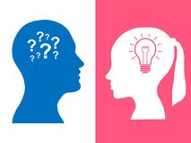 Heads of two people, woman and man, brainstorming concept gear question. Process human thinking vector illustration