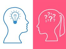 Heads of two people, woman and man, brainstorming concept gear question. Process human thinking stock illustration