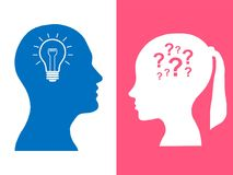 Heads of two people, woman and man, brainstorming concept gear question vector illustration