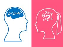 Heads of two people, woman and man, brainstorming concept math question,. Process human thinking vector illustration