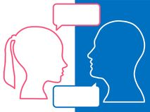 Heads of two people, woman and man, brainstorming concept for question,. Process human thinking stock illustration