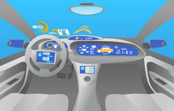 Heads up display (HUD) and various displays in car Royalty Free Stock Image