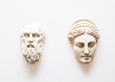 Heads of Zeus and Hera sculptures. Head sculptures of Zeus and Hera head  isolated on white Stock Photos