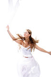 Headscarf. Girl with headscarf soaring at a ray of light. Isolated with clipping path Stock Image