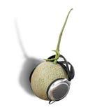Headset. A cantaloupe wearing a headphones Stock Photo