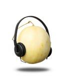 Headset. A honey dew melon  wearing a headphones Stock Photos
