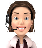 Headset. 3D woman with a headset, for support royalty free illustration