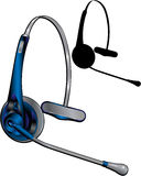 Headset. Rendered Headset and headset silhouette Royalty Free Stock Photography