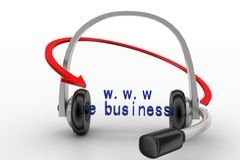 Headset With Arrow And www e commerce text Royalty Free Stock Photos