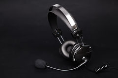Headset on black background Royalty Free Stock Image
