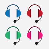 Headset Colors. Isolated headsets in various colors Stock Image