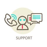 Headset Contact. Live Help. Support icon. Vector. Headset Contact. Live Help. Support icon. Line Vector Illustration royalty free illustration