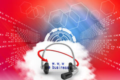 Headset With E business Domain  Illustration Royalty Free Stock Photography