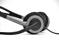 Headset. Electronic Headset in black and white royalty free stock photo