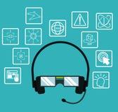 Headset glasses virtual reality electronic data technology Stock Photography