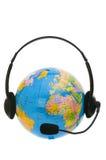 Headset on globe isolated Stock Image