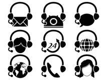 Headset hotline icon set Stock Photos
