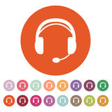 The headset icon. Support symbol. Flat Stock Photos