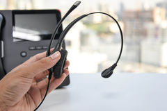 Headset and the IP Phone Royalty Free Stock Images