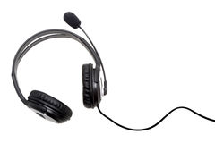 Headset isolated in white. Black headset isolated in white background Royalty Free Stock Image