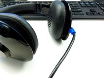 Headset And Keyboard Royalty Free Stock Photography