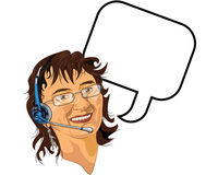 Headset Lady. Lady with a headset and a speech bubble Royalty Free Stock Photos
