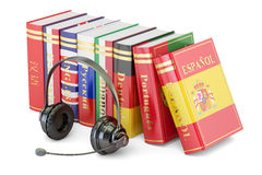 Headset and language books, learning and translate concept. 3D. Headset and language books, learning and translate concept. 3D Stock Photography