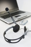 Headset with Laptop Stock Photography