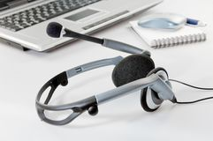 Headset with Laptop Royalty Free Stock Image