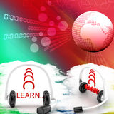 Headset With Learn Text Illustration Royalty Free Stock Photos