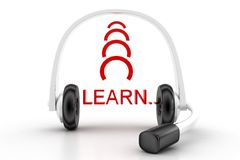 Headset With Learn  Text Stock Photography