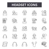 Headset line icons, signs, vector set, outline illustration concept. Headset line icons, signs, vector set, outline concept illustration royalty free illustration
