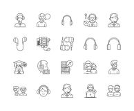 Headset line icons, signs, vector set, outline illustration concept. Headset line icons, linear signs, vector set, outline concept illustration stock illustration