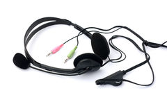 Headset with microphone with jacks isolated Royalty Free Stock Photos