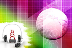 Headset With Mobile Phone And Its Signal Royalty Free Stock Photos