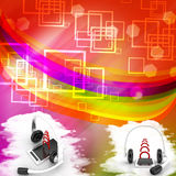 Headset With Mobile Phone And Its Signal Illustration Royalty Free Stock Images