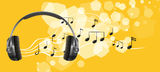 A headset and the musical notes Stock Images