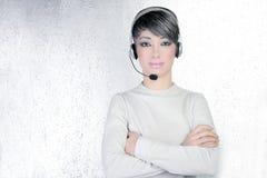 Headset silver futuristic woman headphones phone Royalty Free Stock Photo