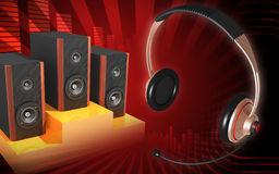 Headset and speaker Royalty Free Stock Image
