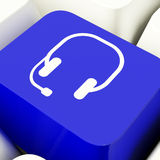 Headset Symbol Computer Key In Blue Showing Communiction And Onl Royalty Free Stock Photo