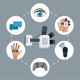 Headset vr device technology smart icons Stock Photo