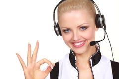 headset wearing woman Стоковая Фотография RF