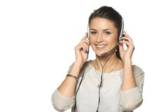 Headset woman call center operator Stock Photo