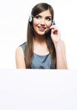 Headset woman customer service worker Stock Image