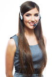 Headset woman customer service worker Stock Image