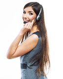 Headset woman customer service worker Stock Images