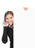 Headset woman sign Stock Photo